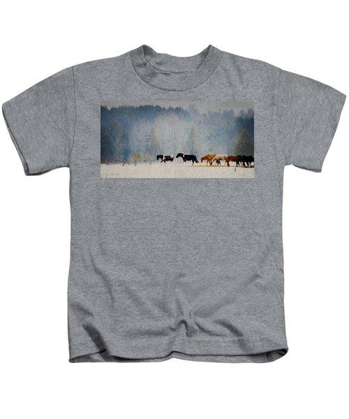 Winter Horses Kids T-Shirt
