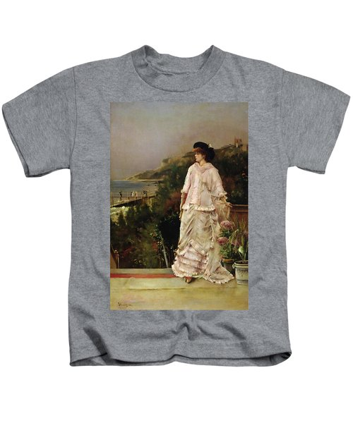 Woman On A Terrace Kids T-Shirt