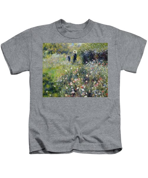 Woman With A Parasol In A Garden, 1875 Kids T-Shirt