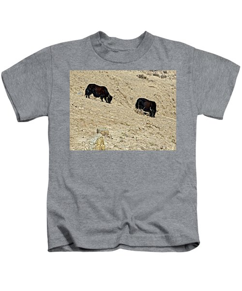 Yaks In Himalayas Along Friendship Highway-tibet   Kids T-Shirt