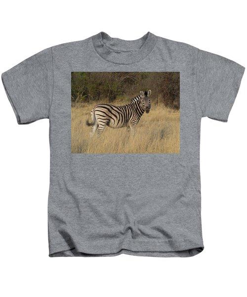 Zebra Standing In A Forest, Okavango Kids T-Shirt