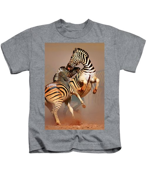 Zebras Fighting Kids T-Shirt