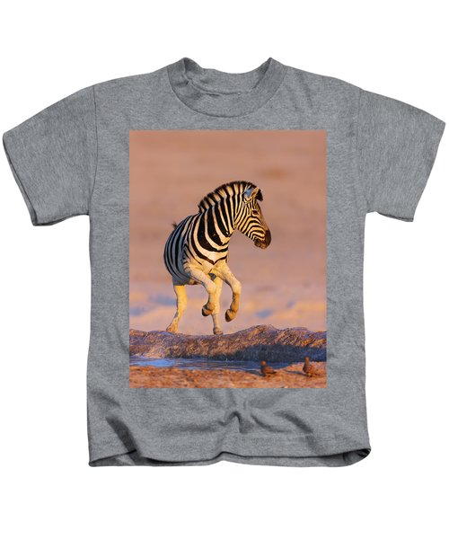 Zebras Jump From Waterhole Kids T-Shirt