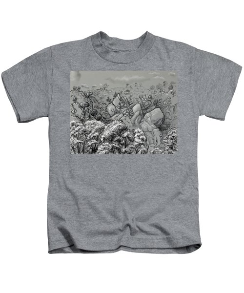 Above The Treetops Field Sketch Kids T-Shirt