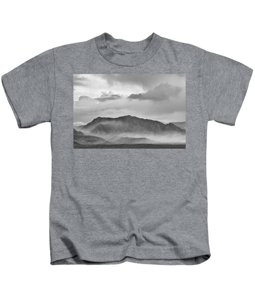 Boulder Colorado Flatirons And The Flagstaff Fire Bw Kids T-Shirt