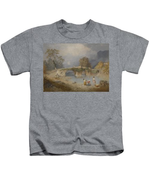 Clearing Up For Fine Weather Beddgelert North Wales 1867 Kids T-Shirt