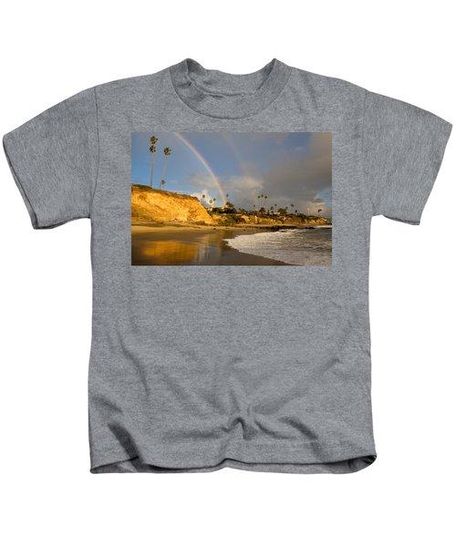 Double Raibow Over Laguna Beach Kids T-Shirt