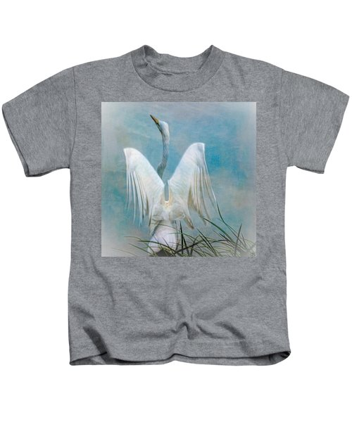 Egret Preparing To Launch Kids T-Shirt