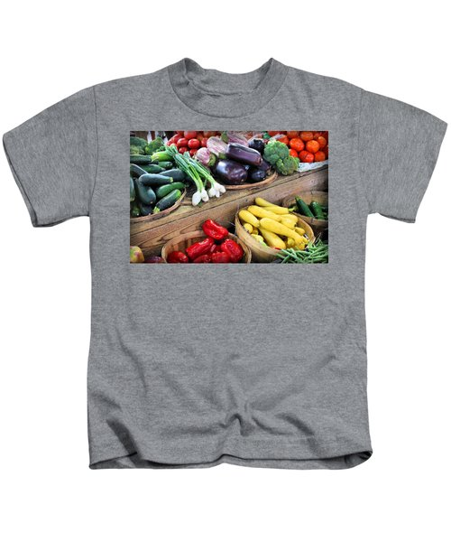 Farmers Market Summer Bounty Kids T-Shirt by Kristin Elmquist