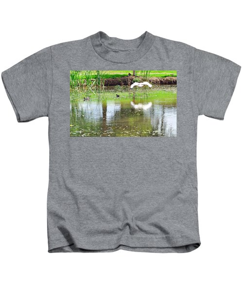 Ibis Over His Reflection Kids T-Shirt