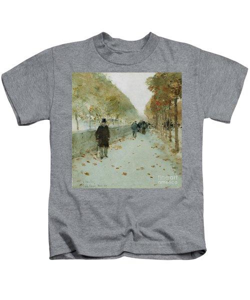 Quai Du Louvre Kids T-Shirt by Childe Hassam