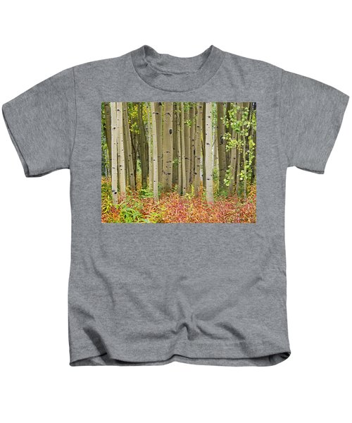 Quaking Aspen Trees And Fireweed Kids T-Shirt