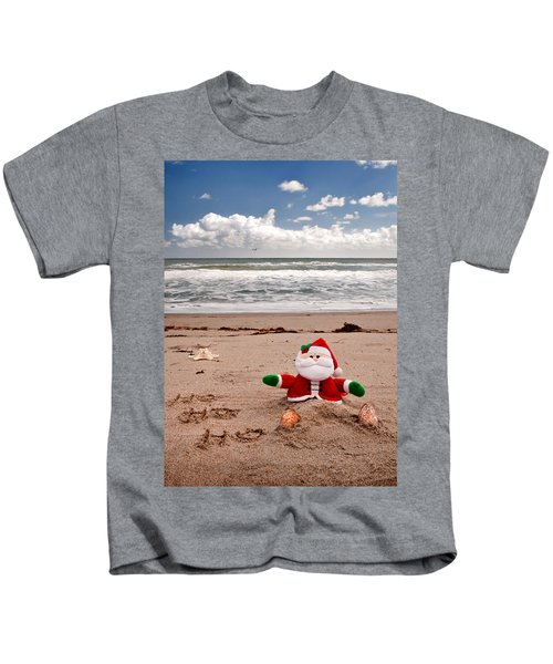 Santa At The Beach Kids T-Shirt