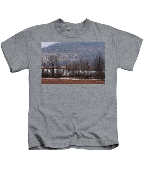 Kids T-Shirt featuring the photograph Snow Geese Rising by William Jobes