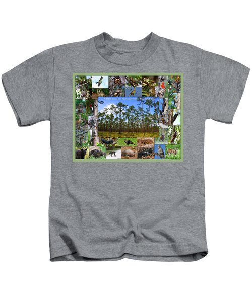 Southeastern Pine Forest Wildlife Poster Kids T-Shirt