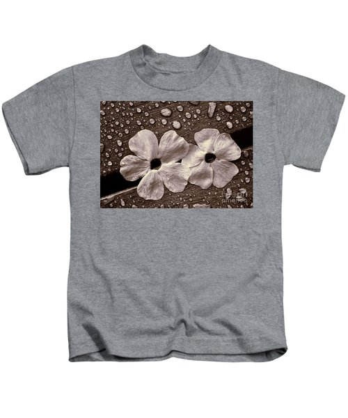 Wet Flowers And Wet Table Kids T-Shirt