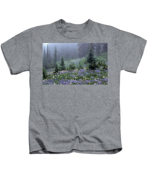 Wildflower Meadow Mt Rainier Kids T-Shirt