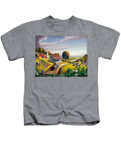 Appalachian Blackberry Patch Rustic Country Farm Folk Art Landscape - Rural Americana - Peaceful Kids T-Shirt