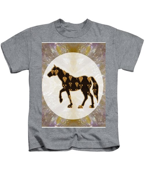 Horse Prancing Abstract Graphic Filled Cartoon Humor Faces Download Option For Personal Commercial  Kids T-Shirt by Navin Joshi