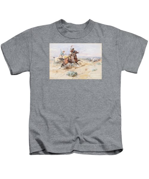 Roping A White Wolf  Kids T-Shirt