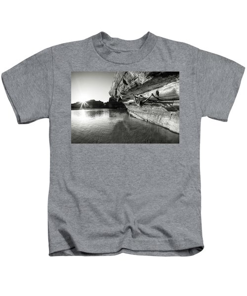 Bouldering Above River Kids T-Shirt