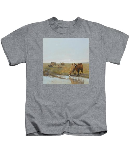 Camels Along The River Kids T-Shirt