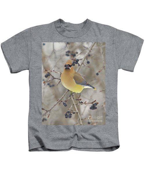Cedar Wax Wing Kids T-Shirt by Robert Pearson