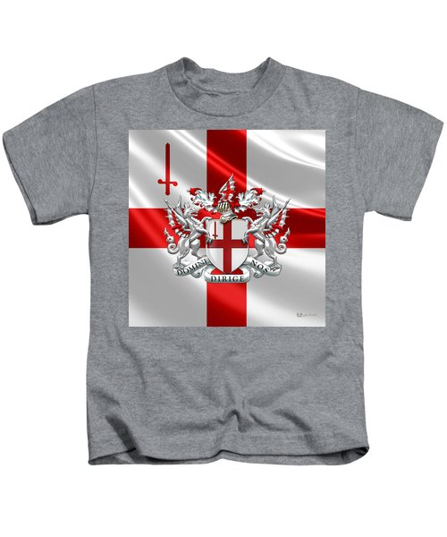 City Of London - Coat Of Arms Over Flag  Kids T-Shirt