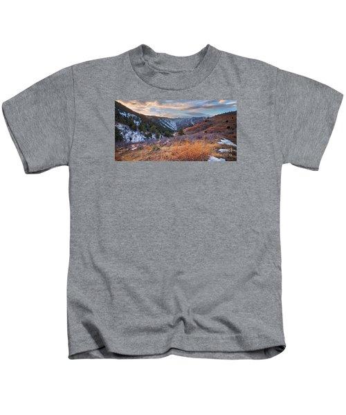 Clear Creek Canyon Winter Sunset Kids T-Shirt