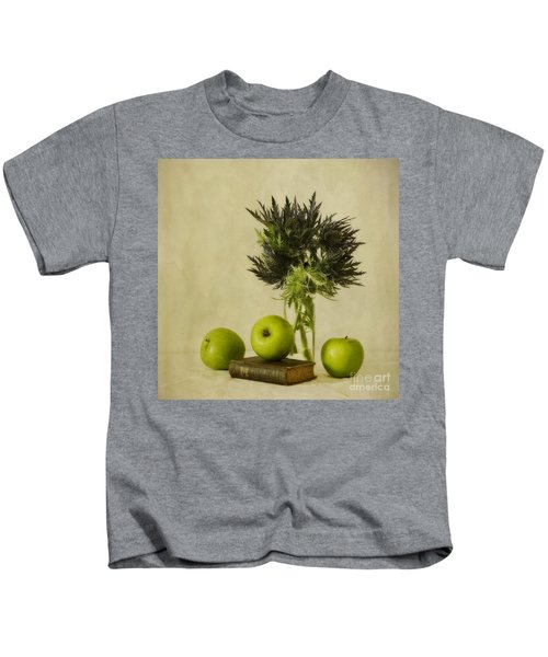 Green Apples And Blue Thistles Kids T-Shirt