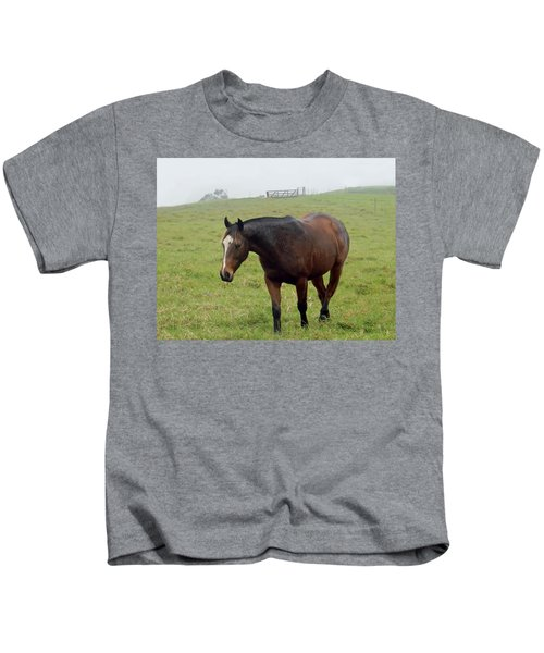 Horse In The Fog Kids T-Shirt