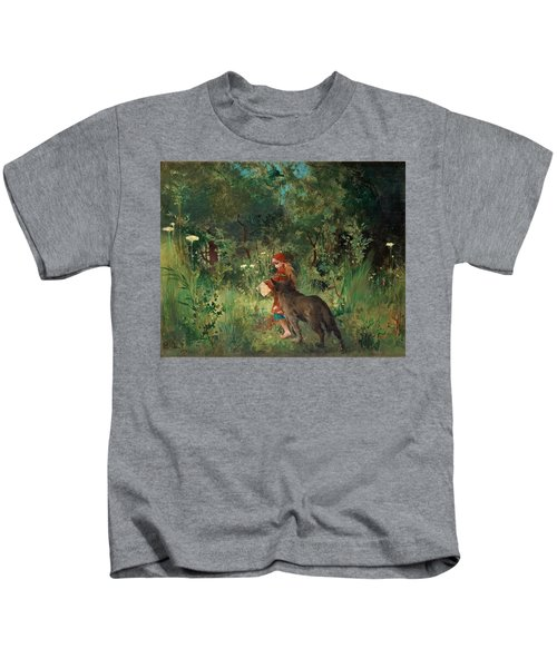 Little Red Riding Hood And The Wolf In The Forest Kids T-Shirt