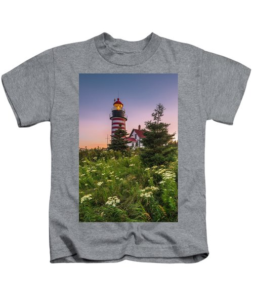 Maine West Quoddy Head Light At Sunset Kids T-Shirt