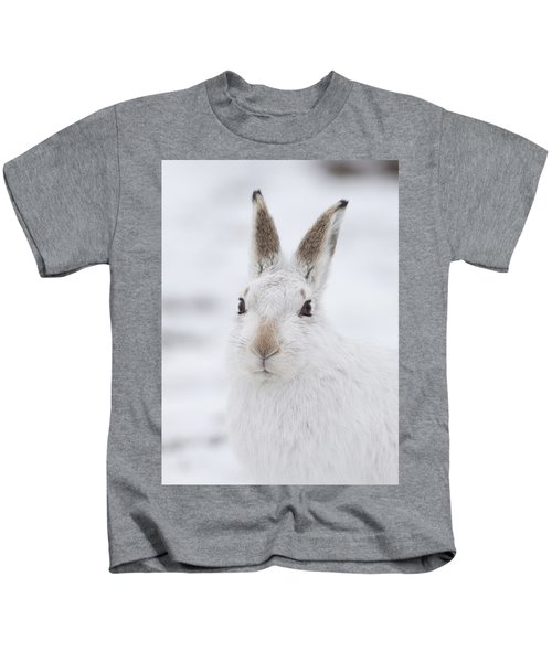 Mountain Hare In The Snow - Lepus Timidus  #1 Kids T-Shirt