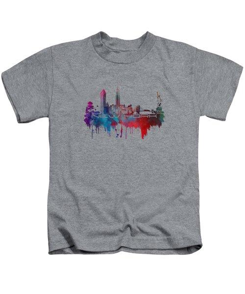 New York City Skyline Blue Kids T-Shirt by Justyna JBJart
