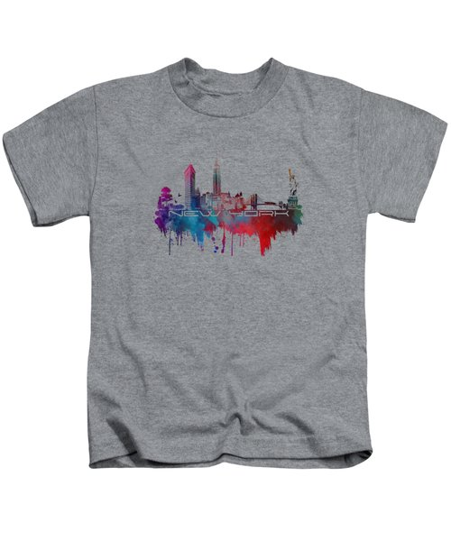 New York City Skyline Blue Kids T-Shirt