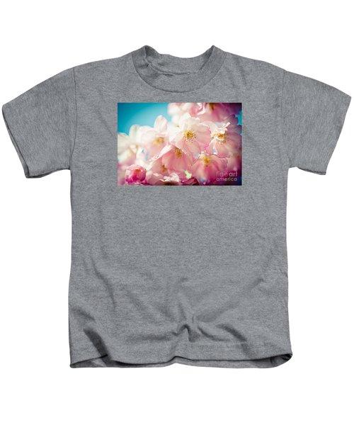 Pink Cherry Blossoms Closeup Kids T-Shirt