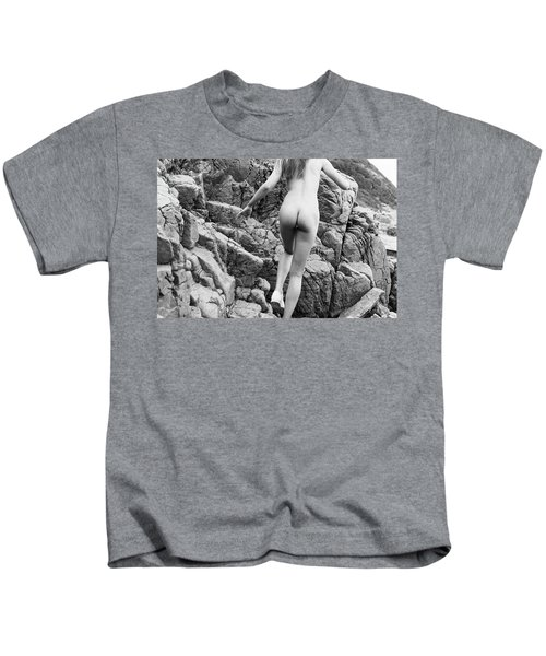Running Nude Girl On Rocks Kids T-Shirt