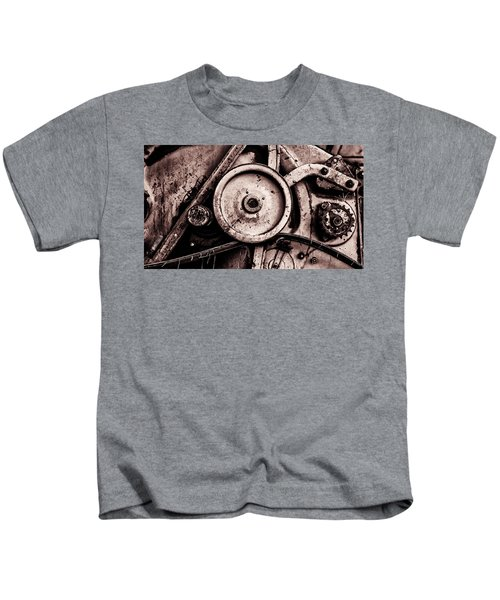 Soviet Ussr Combine Harvester Abstract Cogs In Monochrome Kids T-Shirt