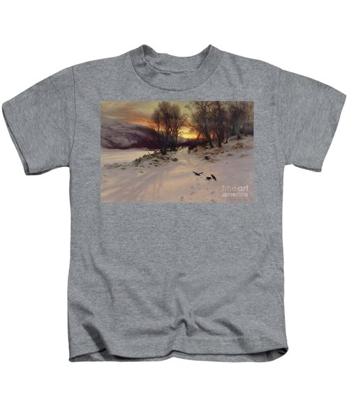 When The West With Evening Glows Kids T-Shirt by Joseph Farquharson