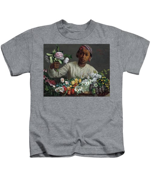 Young Woman With Peonies Kids T-Shirt