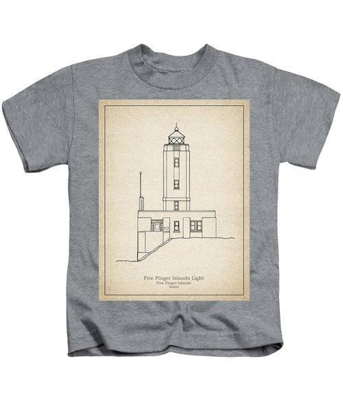 Five Fingers Island Lighthouse - Alaska - Blueprint Drawing Kids T-Shirt
