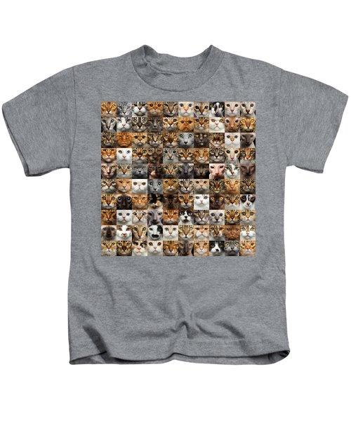 100 Cat Faces Kids T-Shirt