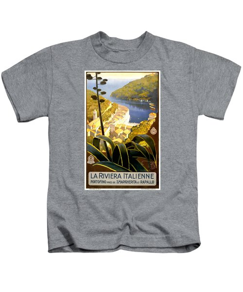 1920 Italian Riviera Travel Poster Kids T-Shirt