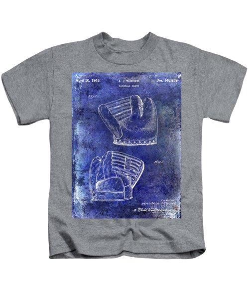 1945 Baseball Glove Patent Blue Kids T-Shirt by Jon Neidert