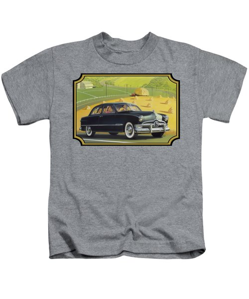 1950 Custom Ford Rustic Rural Country Farm Scene Americana Antique Car Watercolor Painting Kids T-Shirt