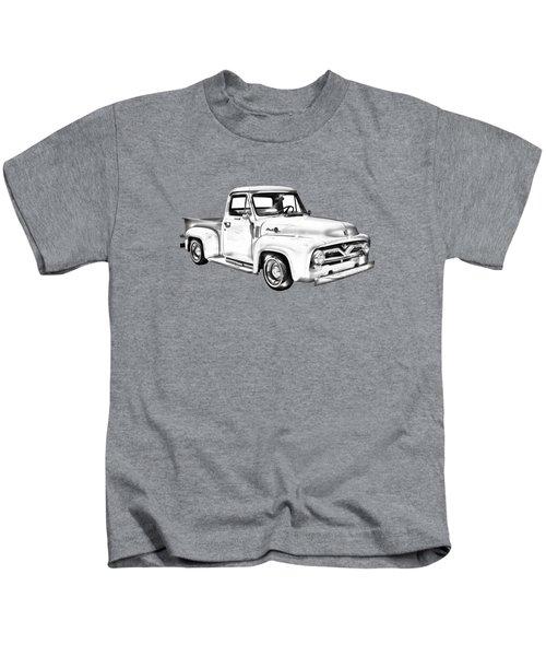 1955 F100 Ford Pickup Truck Illustration Kids T-Shirt