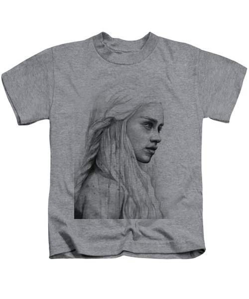 Daenerys Watercolor Portrait Kids T-Shirt