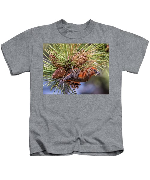 Red Crossbill Kids T-Shirt by Michael Cunningham
