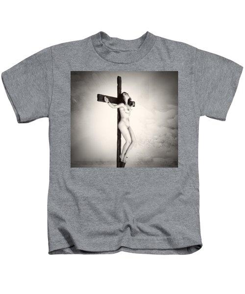 Woman On Crucifix Kids T-Shirt